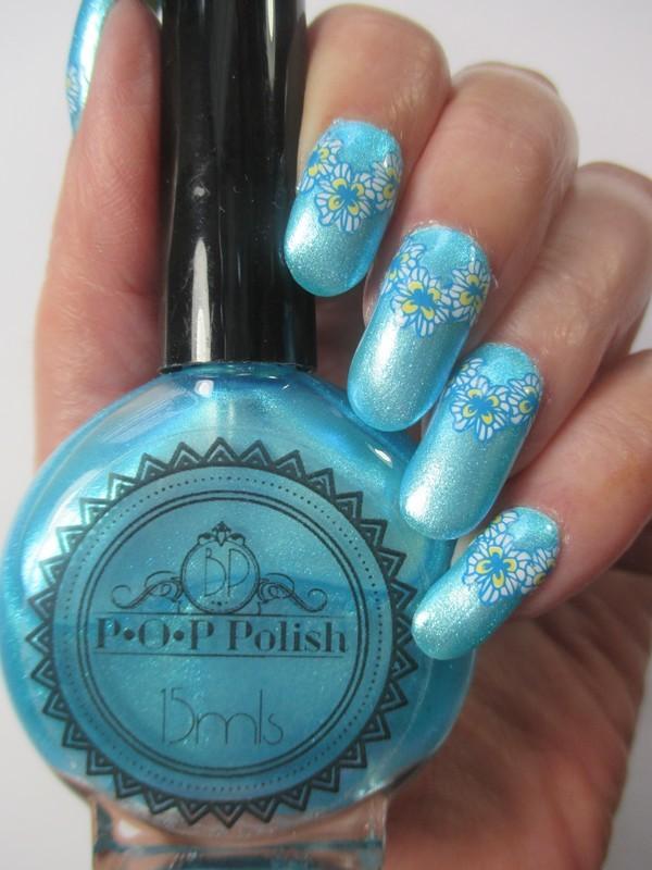 Icy Blue Floral nail art by NinaB