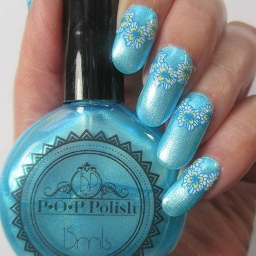 Icy Blue Floral nail art by NinaB