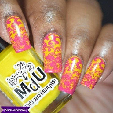 Barbie Pink With Neon Yellow Stamping nail art by glamorousnails23