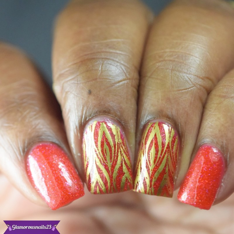Watermarble Wednesdays: Red & Gold nail art by glamorousnails23