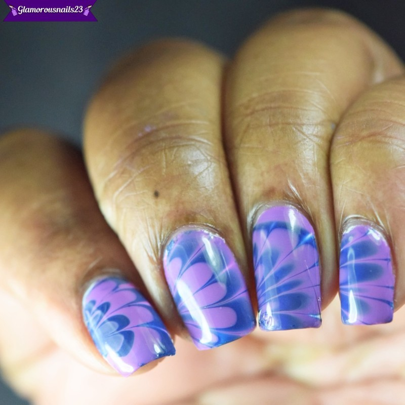 Watermarble Wednesdays: Lavender & Navy nail art by glamorousnails23