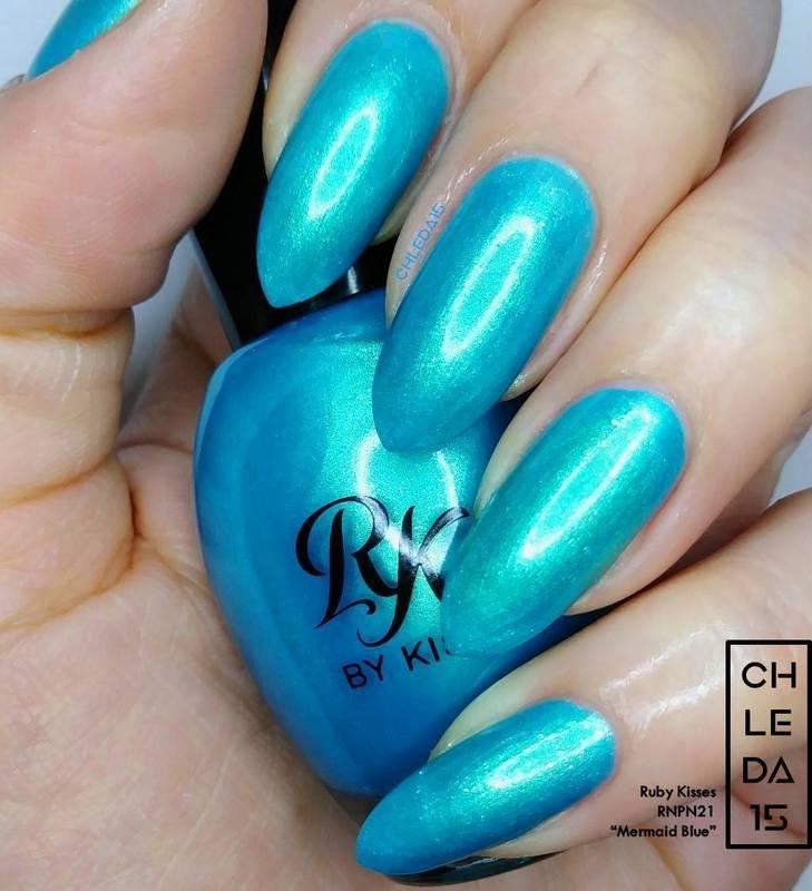"Ruby Kisses RNPN21 ""Mermaid Blue"" Swatch by chleda15"