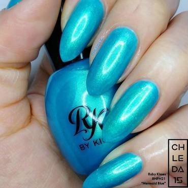 "Ruby Kisses RNPN21 ""Mermaid Blue"" Swatch by chleda15"