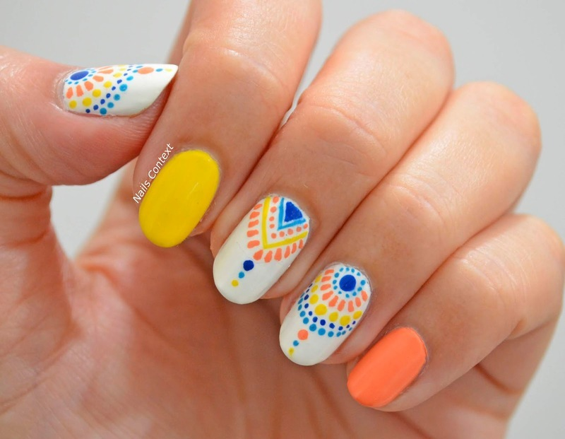 Summer Tribal Print Nails nail art by NailsContext