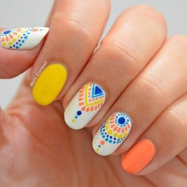 Summer Tribal Print Nails nail art by NailsContext
