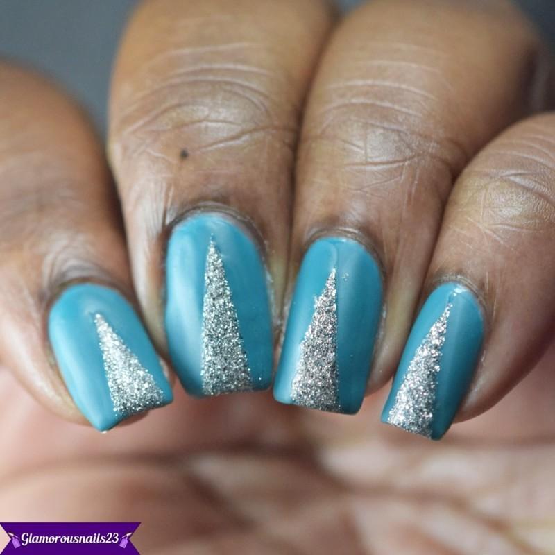 Matte Glitter Triangle Nail Art nail art by glamorousnails23