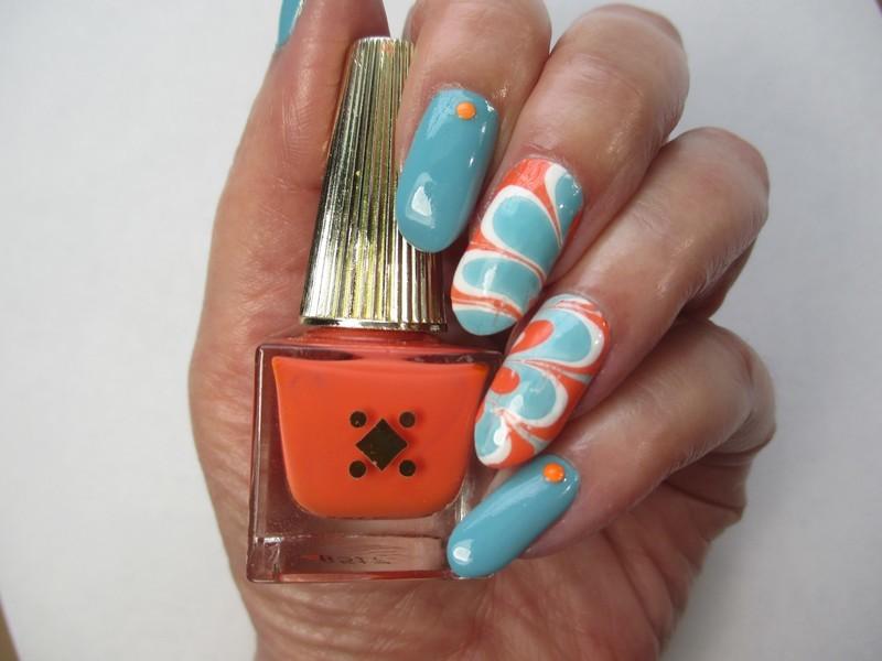 Summer Watermarble nail art by NinaB