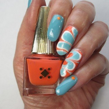 Summer Watermarble nail art by NinaB