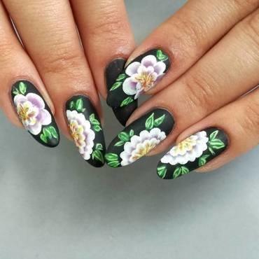 One stroke paznokcie w kwiaty nail art by MaliNaila