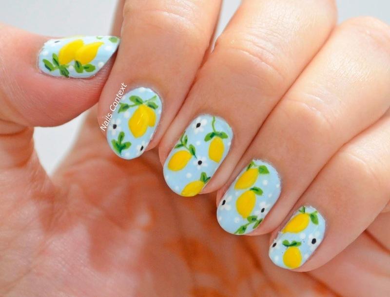 Lemon Nails  nail art by NailsContext