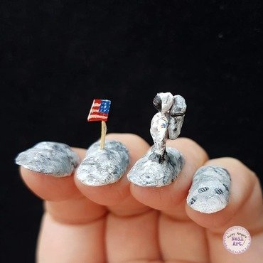 Moon landing nails nail art by Funky fingers nail art