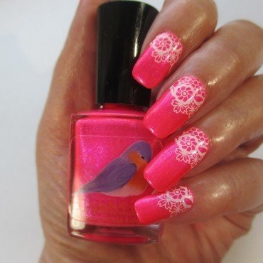 PInk Neon nail art by NinaB