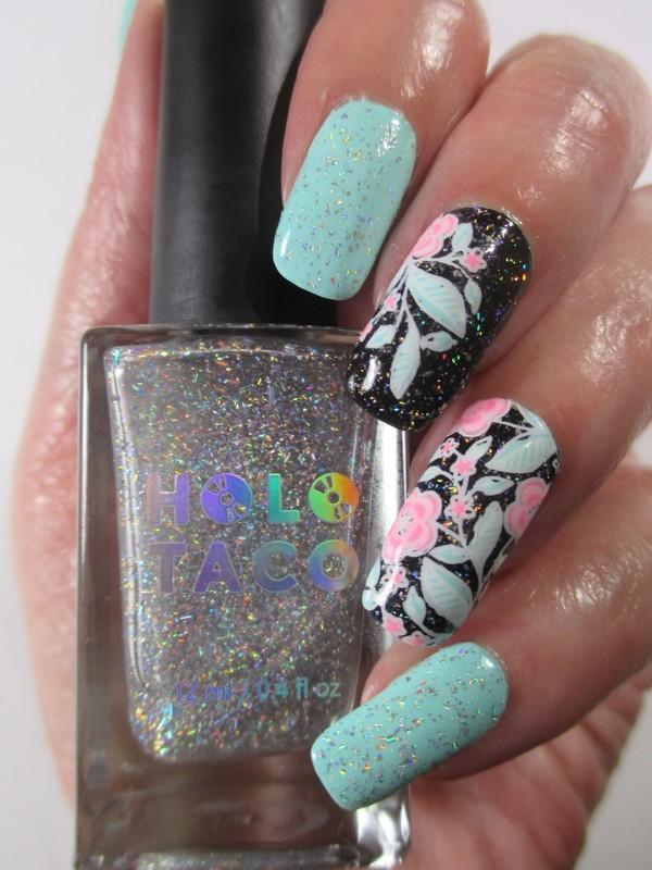 Just Add a Holo Taco nail art by NinaB