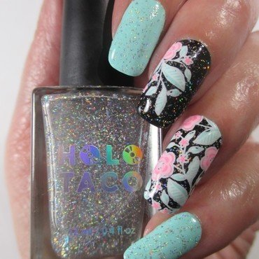 Just Add a Holo Taco nail art by NinaB