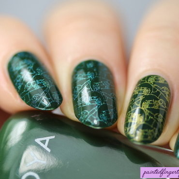 Chameleon stamping nail art by Kerry_Fingertips
