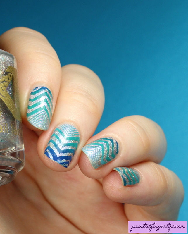 Zigzag stamping nail art by Kerry_Fingertips