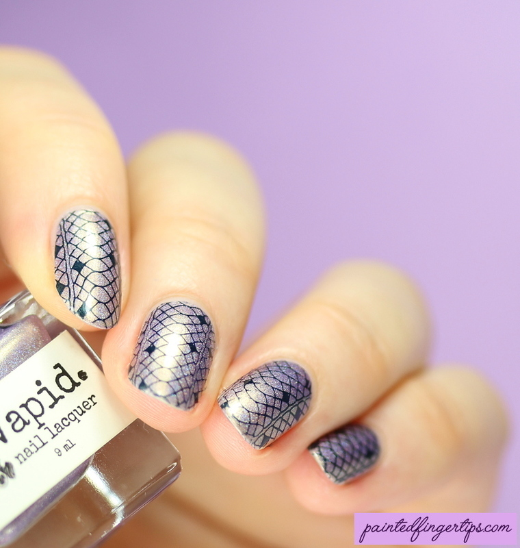Lace stamping nail art by Kerry_Fingertips