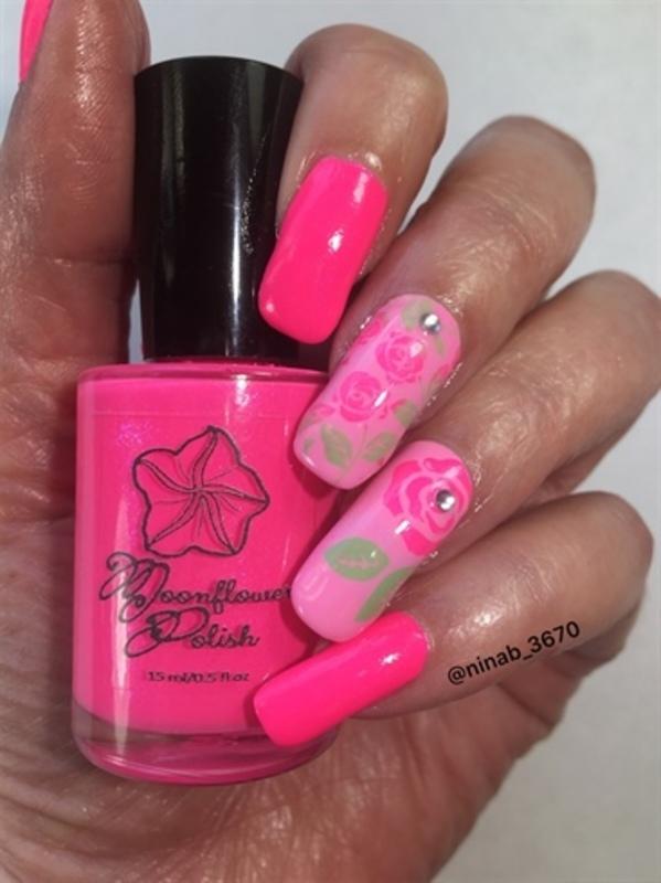 Neon Pink Roses nail art by NinaB