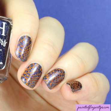 Orange nail stamping nail art by Kerry_Fingertips