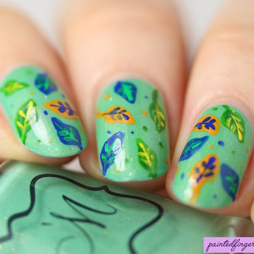 Freehand autumn leaves nail art thumb370f