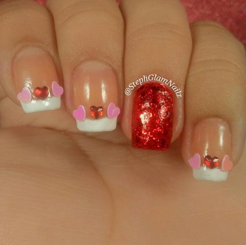 Valentine's day nails nail art by StephGlamNailz