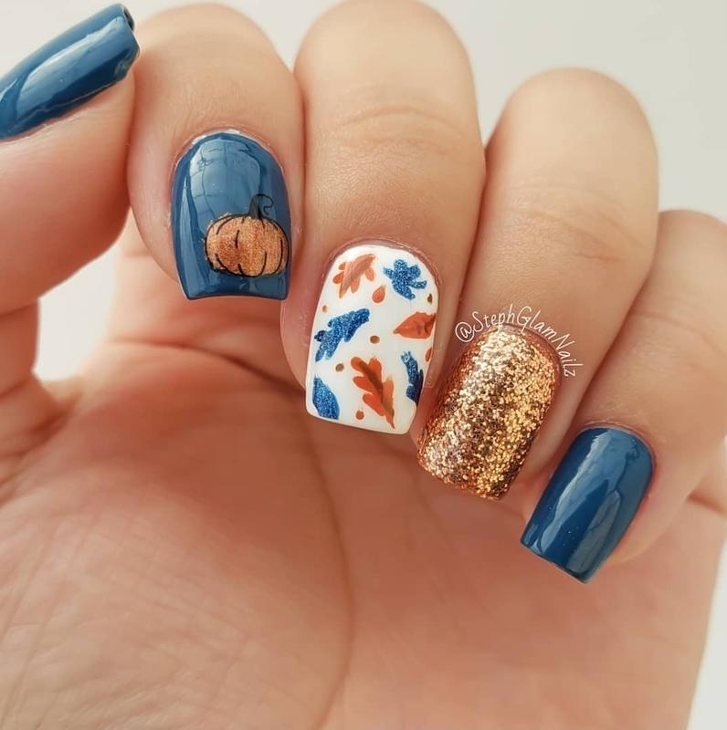 Fall Nails nail art by StephGlamNailz