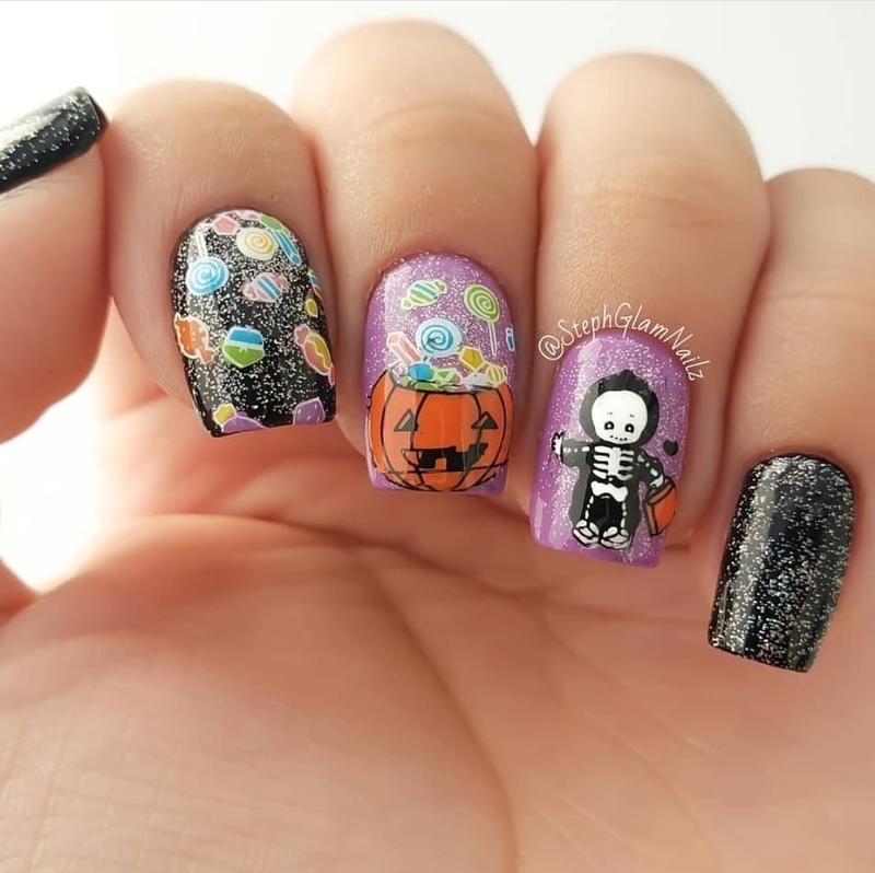 Halloween Candy Nails nail art by StephGlamNailz