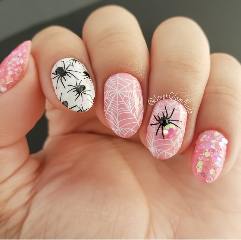 Pink Spider Nails nail art by StephGlamNailz