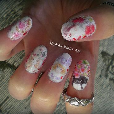 'Cat & Woman In Bloom' nail art by Elpiola Lluka