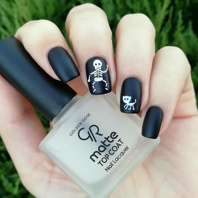 Skeleton nails nail art by Sanela