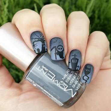 Spooky graveyard nails nail art by Sanela