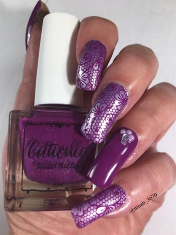 Purple Lace nail art by NinaB