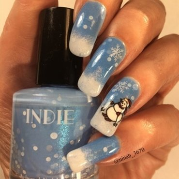 Skiing Snowman nail art by NinaB