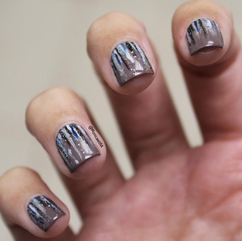 Abstract Winter Wonderland Waterfall Nail Art nail art by Monica