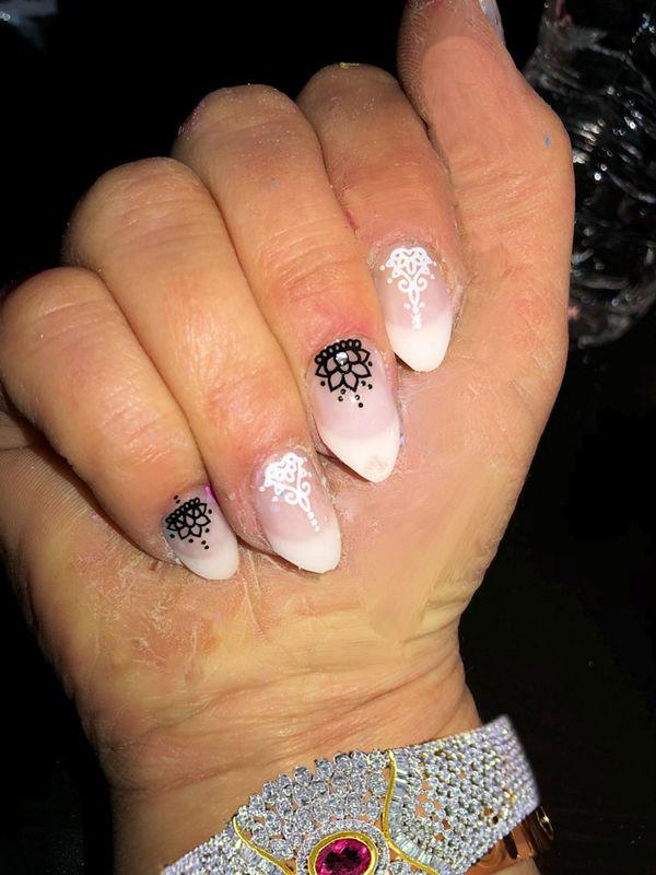 Pointy French Francie nail art by FRANCESCA SPORTELLA