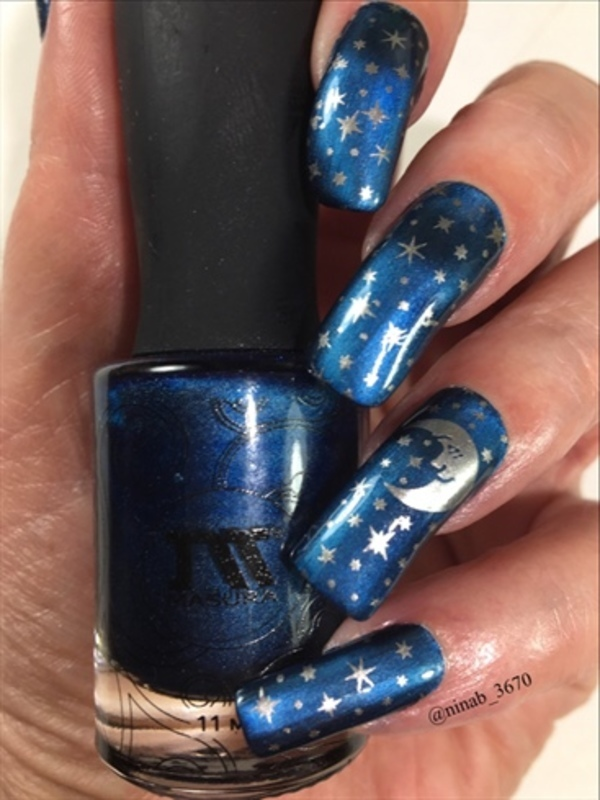 Magnetic Moon and Stars nail art by NinaB