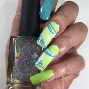 Holo Taco WaterMarble nail art by NinaB