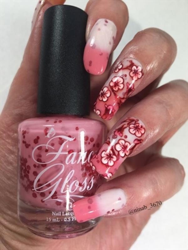 Cherry Blossoms nail art by NinaB