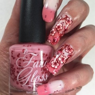 Cherry Blossoms nail art by NinaB