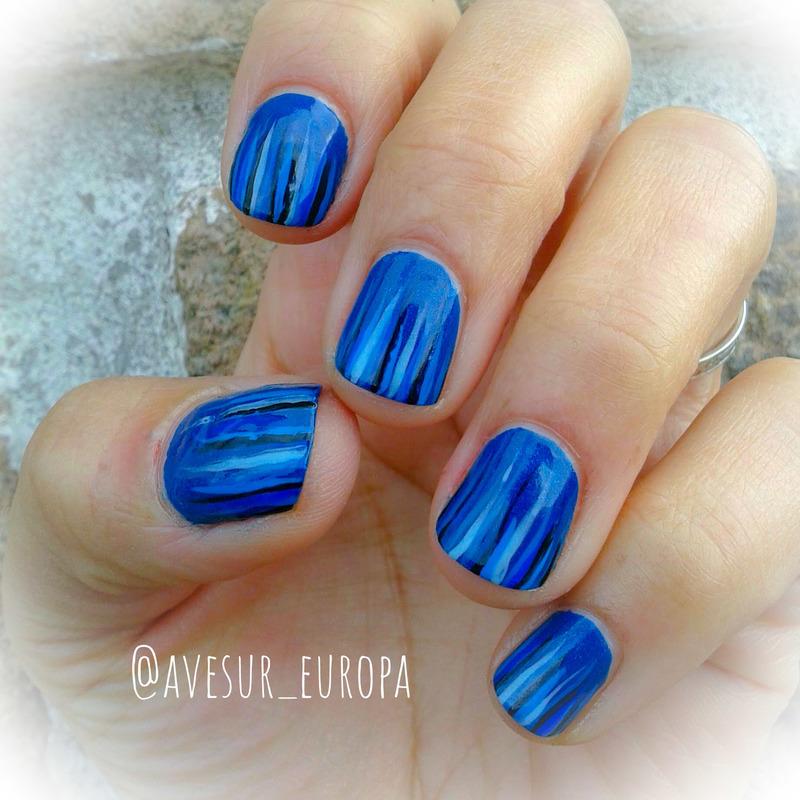 Blue & Black nail art by Avesur Europa