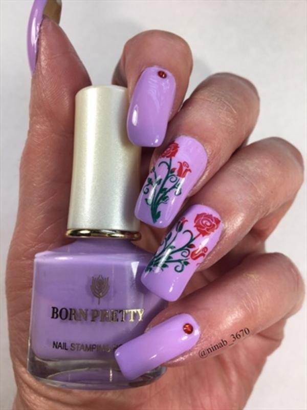 Lilac Thermal Roses nail art by NinaB