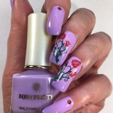 Lilac Thermal Roses nail art by NinaB