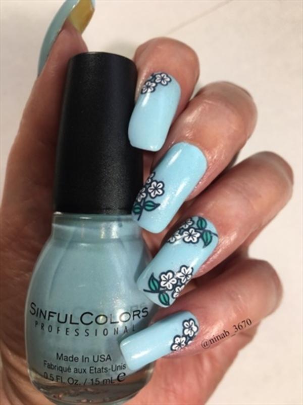 Robin's Egg Blue nail art by NinaB