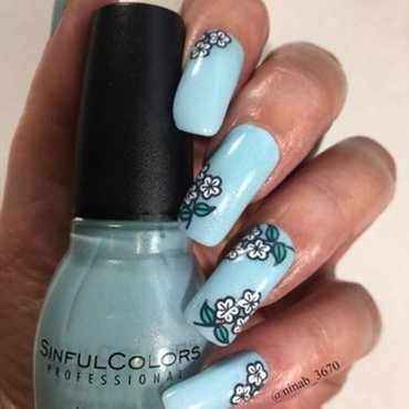 Robin's Egg Blue nail art by NinaB