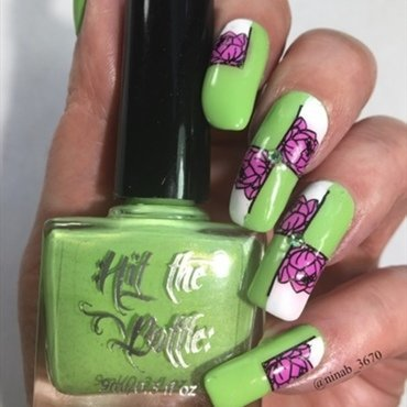Mean Green nail art by NinaB