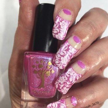 Pink Floral nail art by NinaB