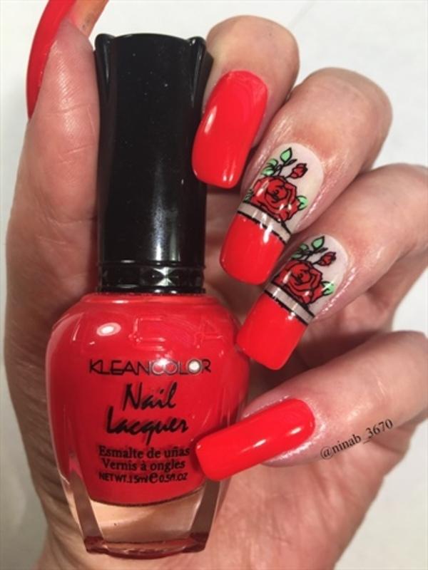Red Roses nail art by NinaB