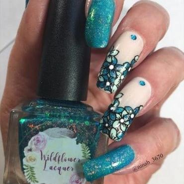Aqua Flowers nail art by NinaB