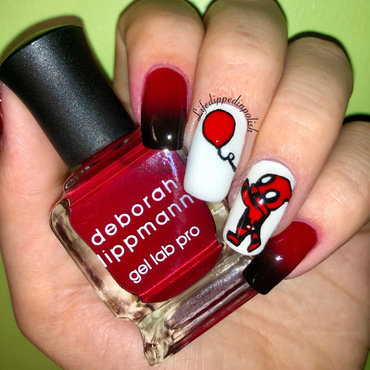 Deadpool With a Balloon nail art by lifedippedinpolish