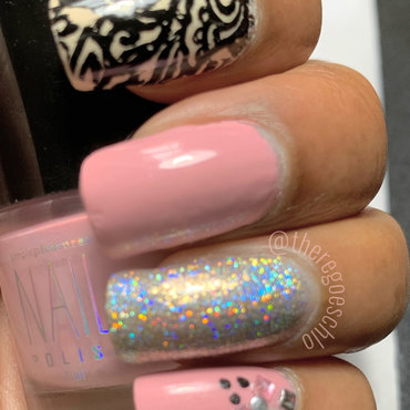 Mauve Sparkle nail art by Chloe Jay